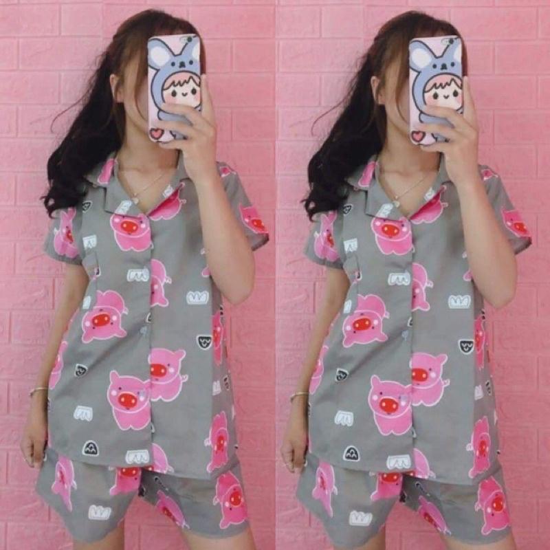 Mặc gì đẹp: Ngủ ngon với Bộ Đồ Ngủ Nữ Pijama Chất Kate Thái Họa Tiết Cute Bò Sữa Ulzzang Siêu Đẹp - BR03 - Black Rose (mẫu check theo ảnh)