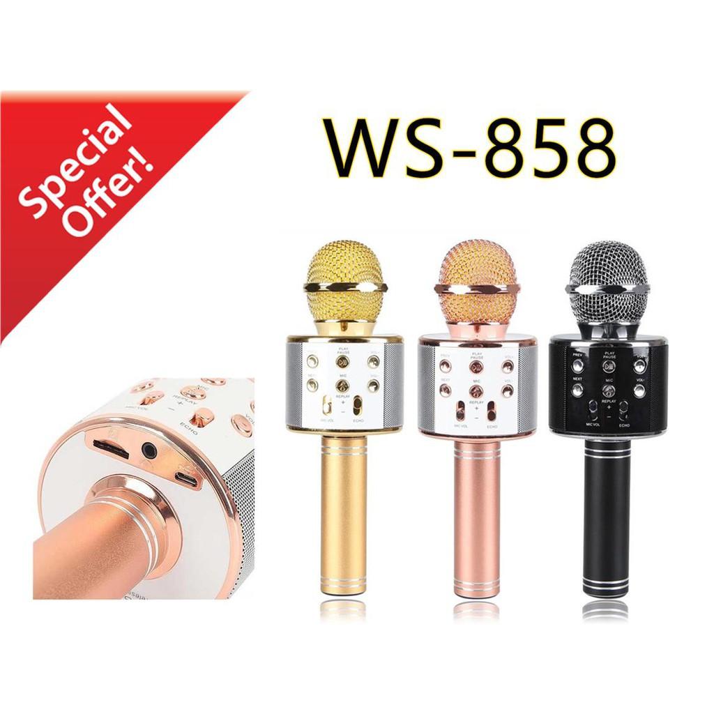 (Miễn Phí Vận Chuyển) Mic kèm Loa Bluetooth WS-858 đa năng 6 trong 1 hát Karaoke -dc2371
