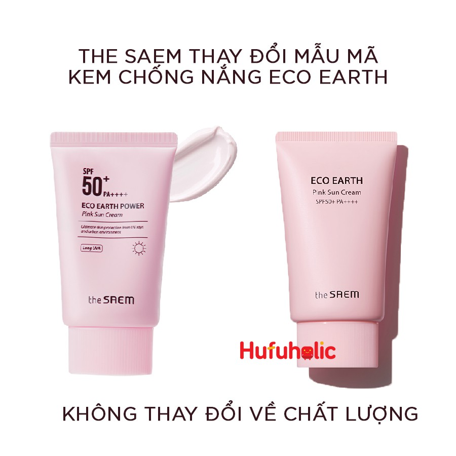 THE SAEM - Kem chống nắng Eco Earth Power Pink Sun Cream‎ SPF50+ PA++++