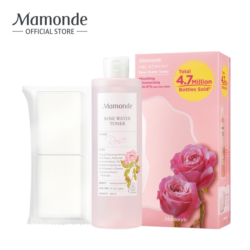 Nước hoa hồng cung cấp độ ẩm Mamonde Rose Water Toner 500ml-Tặng kèm 20 bông tẩy trang
