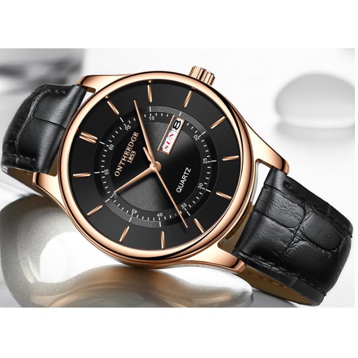 Đồng hồ nam Ontheedge RZY029 dây da thời trang Fullbox chính hãng