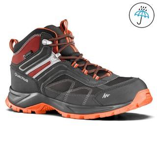 Giày leo núi trekking cổ lửng chống thấm nước, giày phượt dã ngoại outdoor Arpenaz Xám-Cam