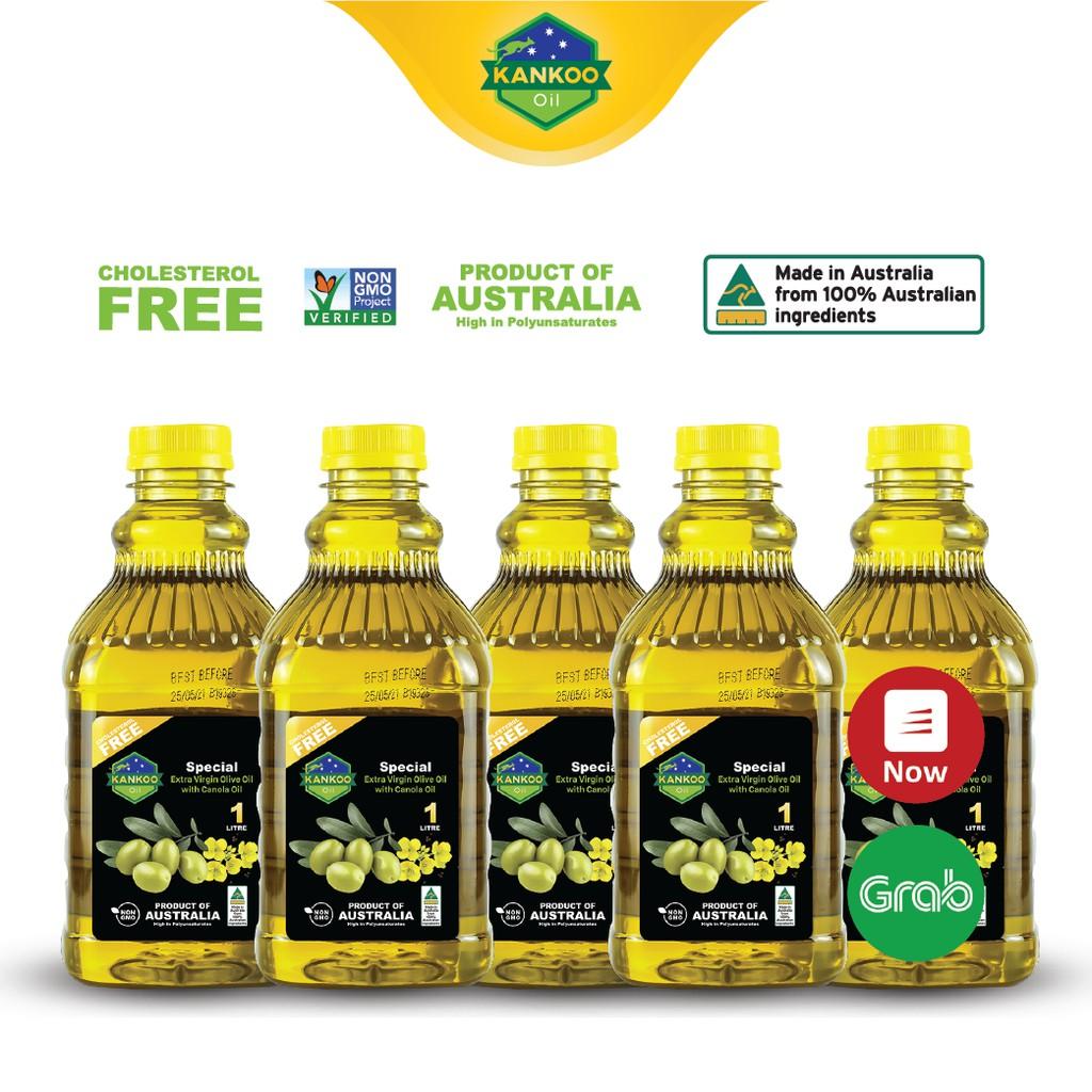Combo 5 chai 1 lít (5L) dầu Oliu hạt cải nhập khẩu Úc Kankoo - Dầu ăn ép cực lạnh nguyên chất chiên xào, salad, ăn dặm