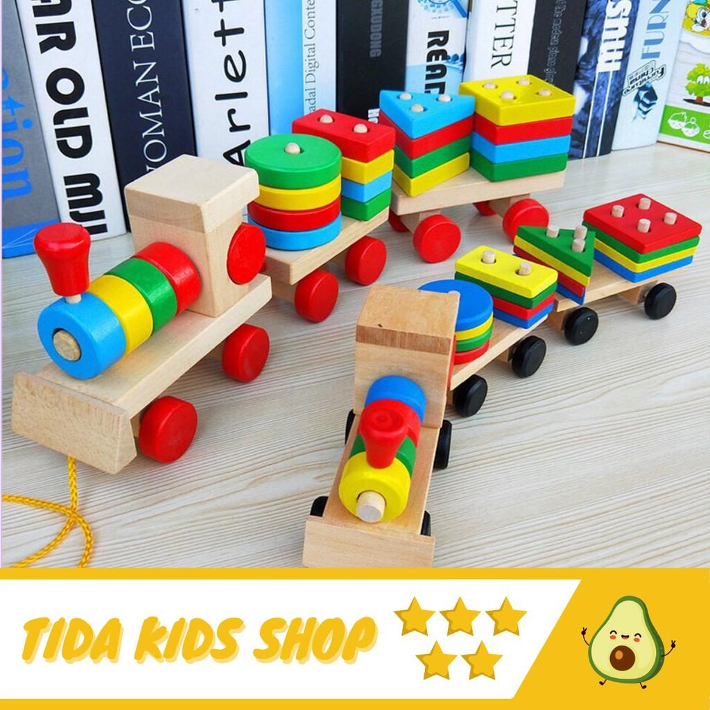 [Mẫu Mới 2021] Đoàn Tàu Gỗ Thả Hình Khối, Nhiều Màu Sắc, Ghép 3 Toa Tàu ❤ Freeship ❤ TiDa Kids Shop