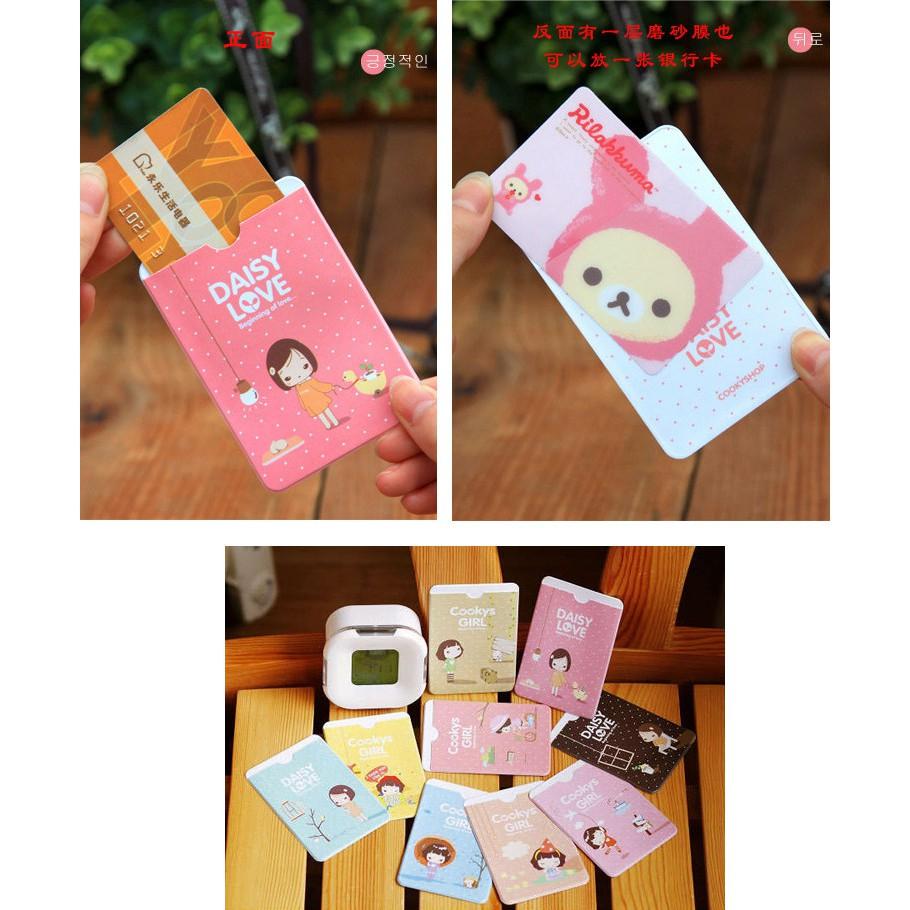Cute Girl Korean Hand-Painted Certificate Card Holder Cactus