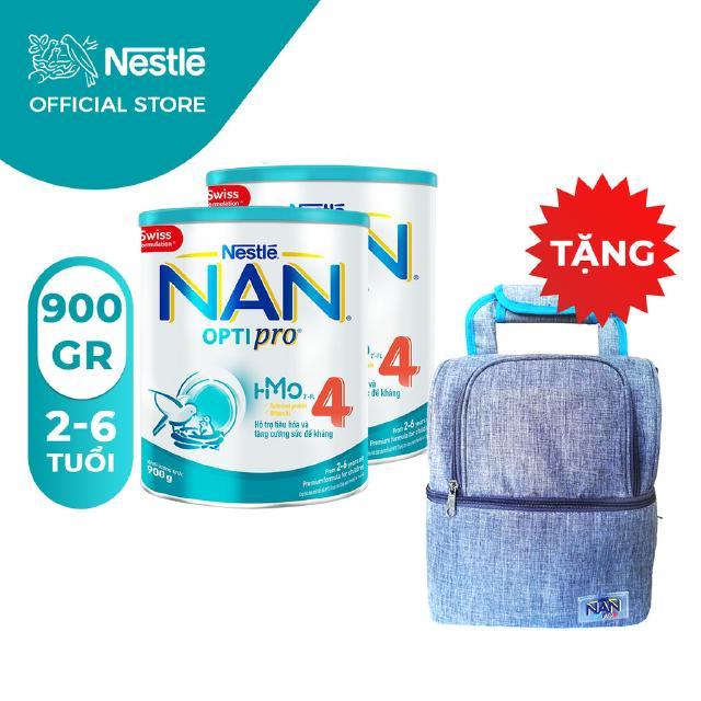 Combo 2 Lon Sữa Bột Nestle NAN Optipro 4 (900g/hộp) [Tặng 1 Balo Cho Mẹ]