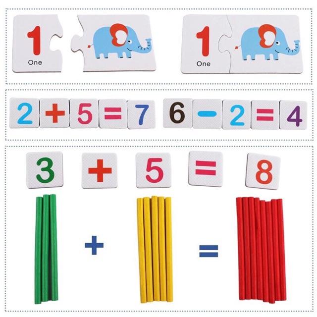 Bộ thẻ ghép số và que tính giúp trẻ tư duy logic