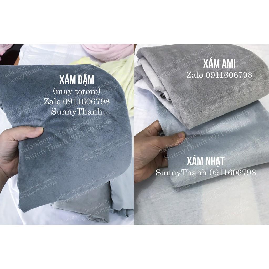 Vải lông nhung may khăn trải spa mịn cao cấp màu XÁM AMI, XÁM TOTORO