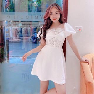 Đầm thiết kế / Đầm xoè trắng Mona