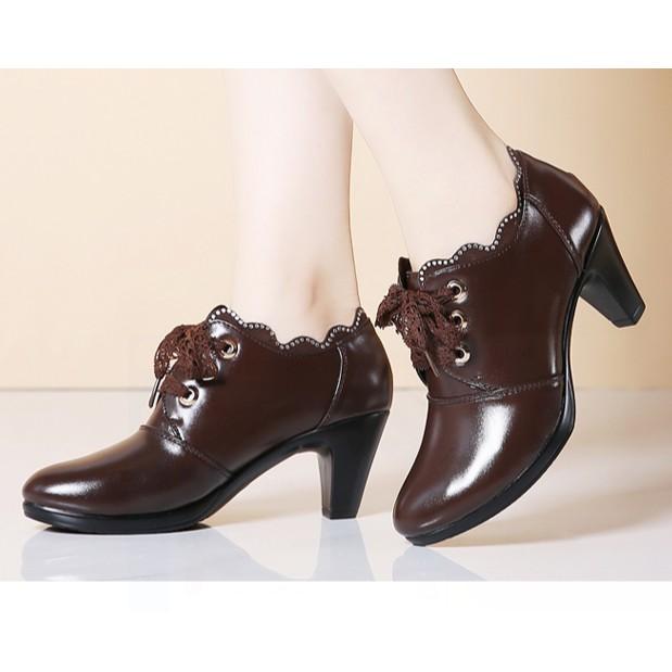 Giày mùa thu - giày da - Giày cao gót nữ -  Giày cao gót  - Giày đơn nữ giày công sở- giày màu đông- giày thời trang