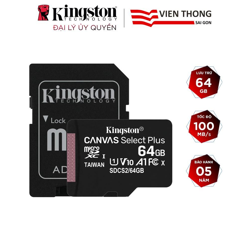 Thẻ nhớ micro SDXC Kingston 64GB Canvas Select Plus upto 100MB/s + Adapter - Hãng phân phối chính thức