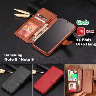 Bao da gập nắp ốp Samsung Note 8/Note 9, thiết kế chất da mịn, mềm, có kèm ví kẹp tiền