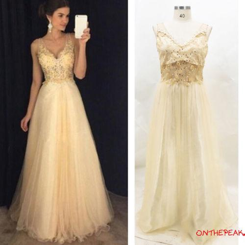 ✦♛✦Women Formal Wedding Bridesmaid Evening Party Ball Prom Gown V-neck Satin Long Cocktail Dress