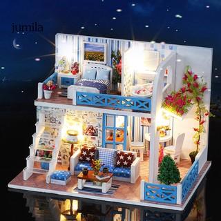 JULA DIY Craft Sea View Hut Villa Mini Dollhouse Assembly Model Toy Birthday Gift