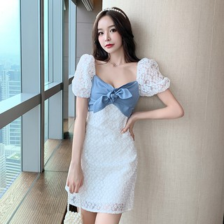 French Square Collar Puff Sleeve High Waist A-line Short Skirt Scheming Hollow Backless Lace Bow Little Daisy Dress