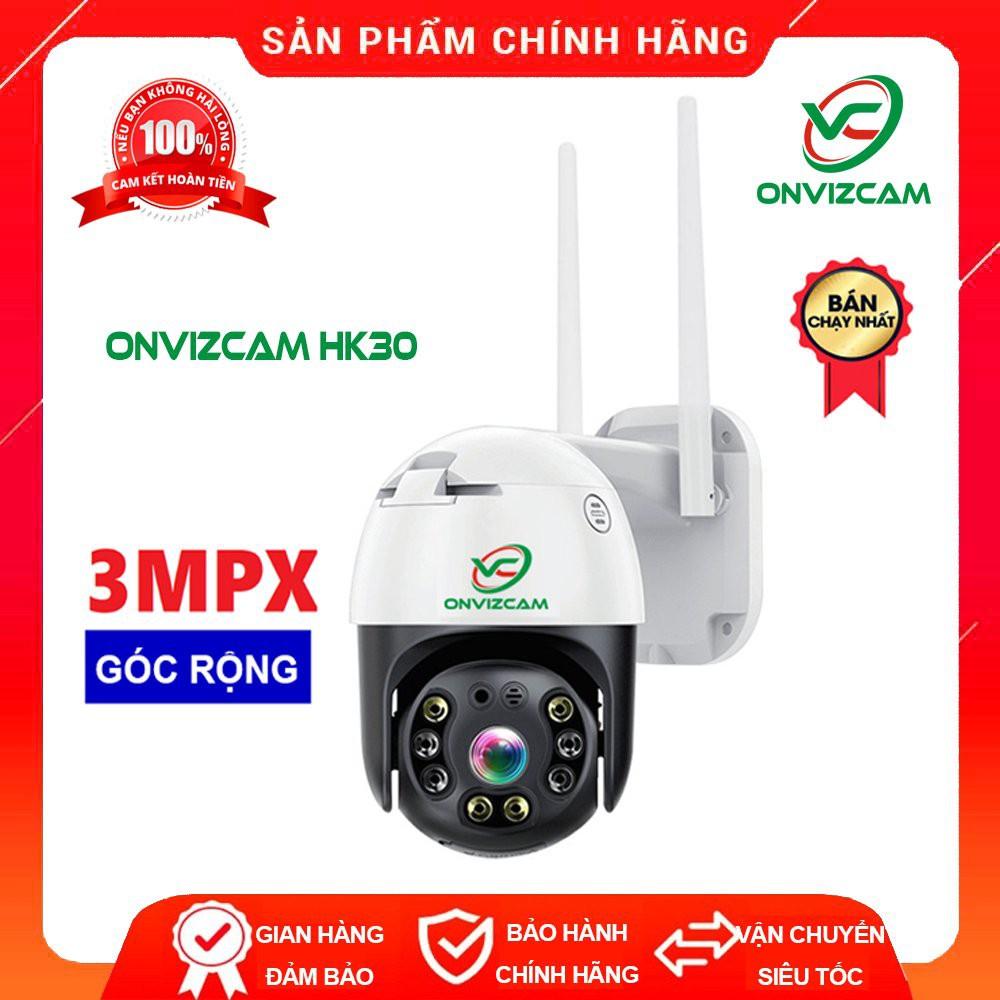 Camera giám sát wifi ONVIZCAM HK30 ngoài trời xoay 360 chống nước CARECAM  3.0 MPx có kết nối smart TV - Hệ thống camera giám sát
