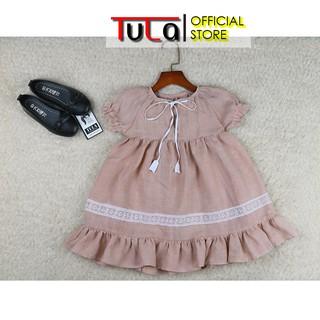 Váy Đầm Cho Bé Gái Vải Linen Hàn Quốc Màu Hồng Cam Phối Ren Chân Váy