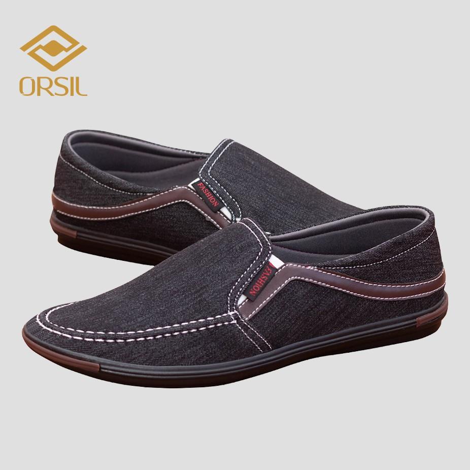 Giày lười vải jean nam ORSIL màu đen trẻ trung - L13