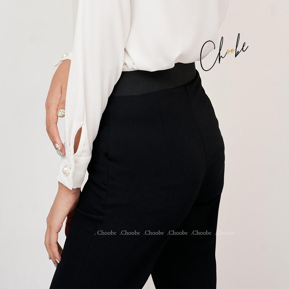 Mặc gì đẹp: Đẹp với Quần baggy nữ Choobe cạp chun sau baggy vải công sở cạp cao dáng chuẩn thanh lịch Q26