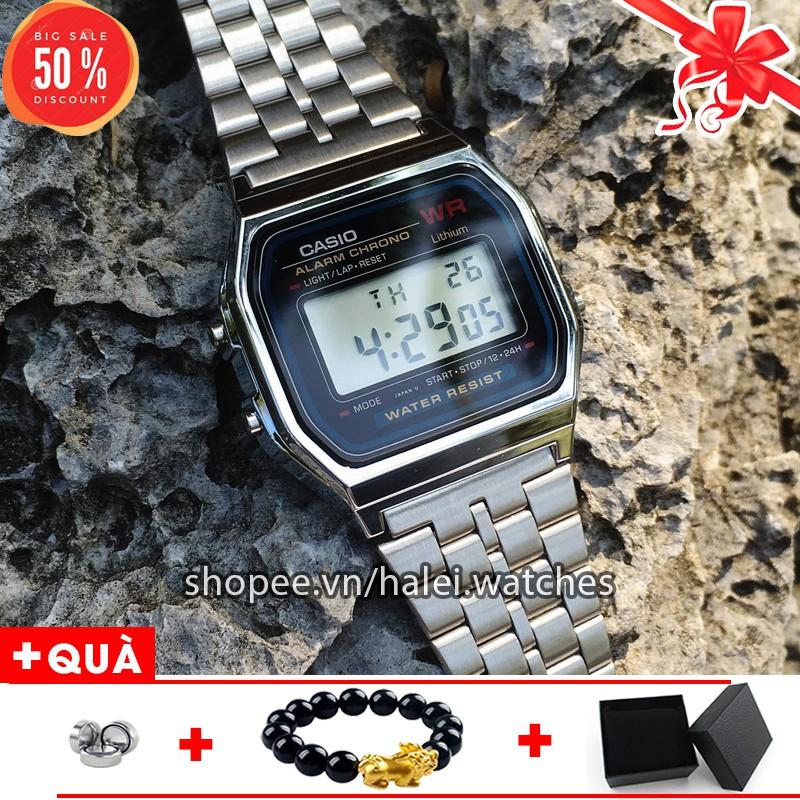 [SHOPEE TRỢ GIÁ] Đồng hồ điện tử Casio A159 nam nữ dây bạc mặt đen đẳng cấp