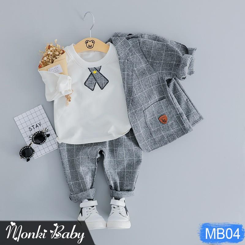 [THANH LÝ] - Bộ trẻ em dáng vest 3 chi tiết cho bé trai, phong cách trẻ trung, mặc sinh nhật, sự kiện, lễ tết | MB04