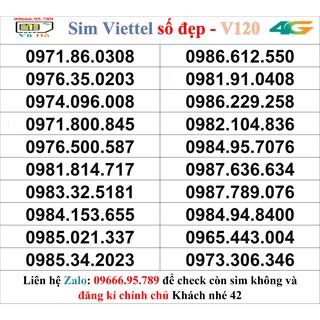 Sim Viettel V120 đầu 09 số đẹp giá rẻ 42