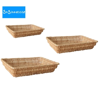 Rattan Wicker Bread Storage Basket Woven Food Serving Basket Fruit Bread Basket Snack Fruit Tray, 3PCS
