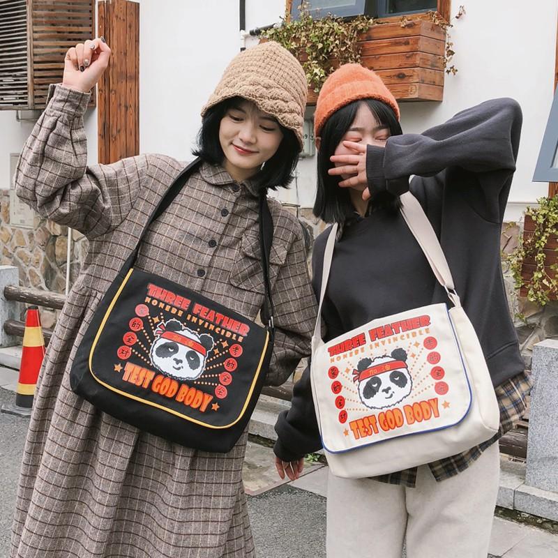Chic canvas bag Japanese Korean female student shoulder bag