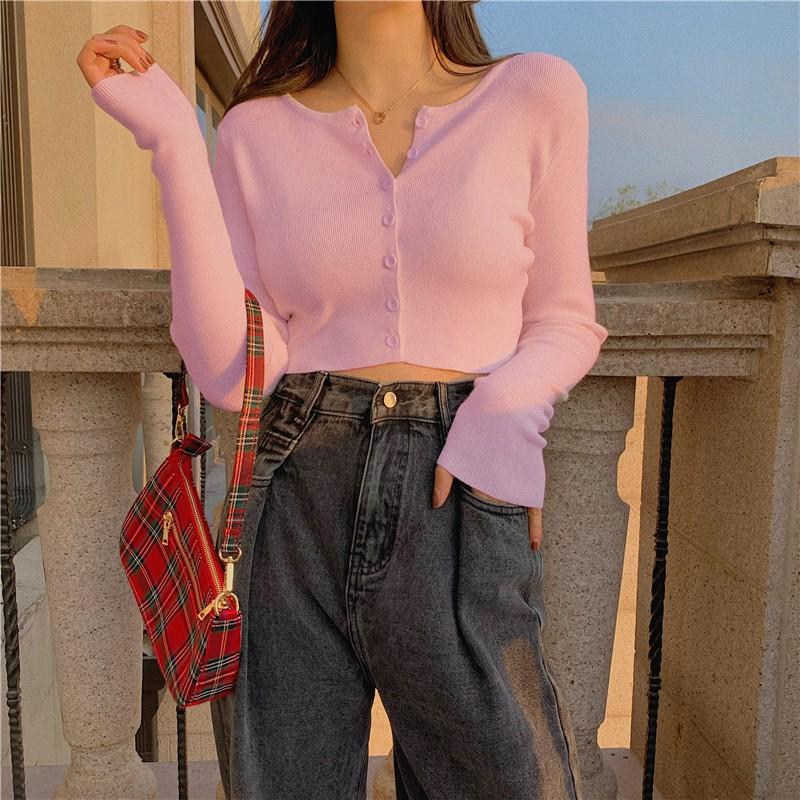 Mặc gì đẹp: Gợi cảm với Áo Croptop Dài Tay SANMAY Áo Crt Form Rộng Thun Ôm Body Nữ Sexy Đẹp Kiểu Lứng Dáng Nhún Thể Thao Cotton Ulzzang AO001