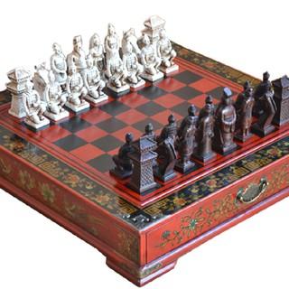 Chinese Retro Terracotta Warriors Chess Wood Do Old Carving Resin Chessman Christmas Birthday Premium Gift