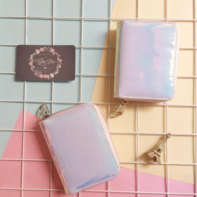 Ví Hologram ánh xanh hồng ngắn mini 11cm QC1943030