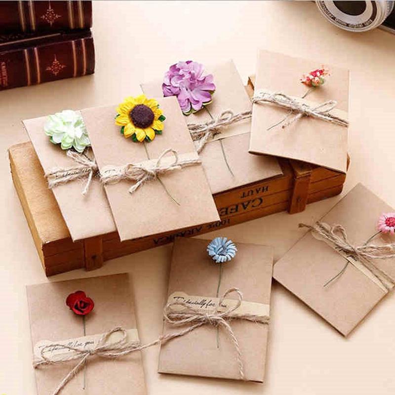 Bộ thiệp chúc mừng giấy kraft kèm hoa khô và dây DIY