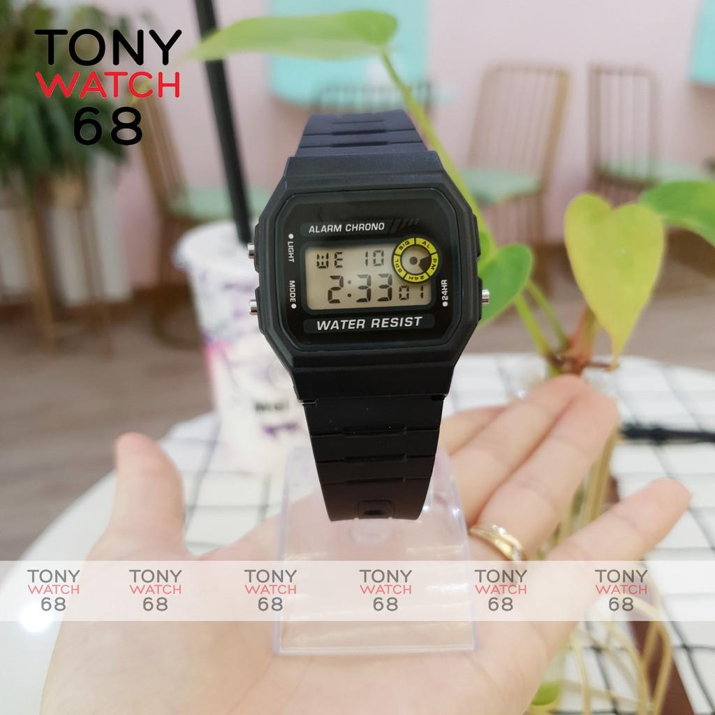 Đồng hồ điện tử nam nữ SL huyền thoại F-94WA-9DG dây cao su đen chống nước chính hãng Tony Watch 68