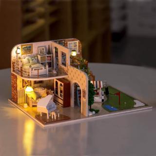 mô hình DIY đồ chơi trí tuệ bằng gỗ, xinh xinh đồ chơi trẻ em mô hình nhà biệt thự tặng kèm đèn pin