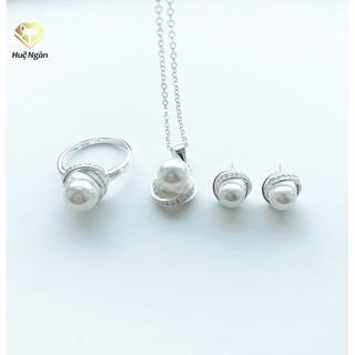 Combo Dây chuyền, bông tai và nhẫn bạc Ý 925 Huệ Ngân - Nơ đẹp PP1229-RYE140731-RR1221