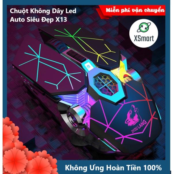 Chuột Không Dây Gaming Led Siêu Đẹp Free Wolf  X13 Premium Pin Sạc Dùng Siêu Trâu Chuột Máy Tính Không Dây Đẹp