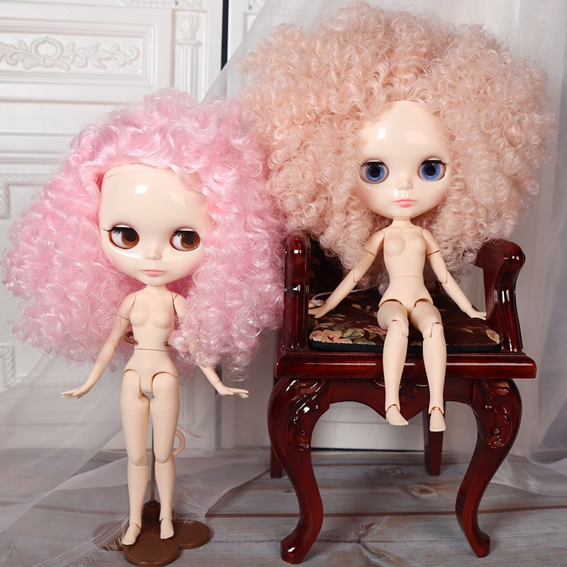 DBS BlytheBlythe Afro Small Curve Short Hair Curly Hair19Joint Changeable Baby Changing the Makeup Naked Doll
