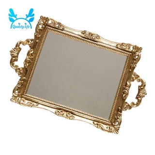 Vanity Mirror Tray Decorative Mirror for Perfume Organizer Serving Tray with Handle Jewelry Dresser Makeup Dish Plate
