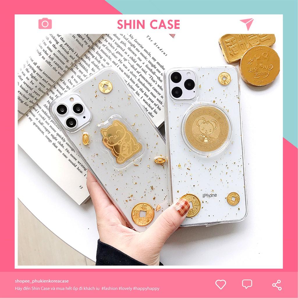 Ốp lưng iphone Tiền vàng may mắn 6/6plus/6s/6s plus/6/7/7plus/8/8plus/x/xs/xs max/11/11 pro/11 promax Giá Đỡ - Shin Case