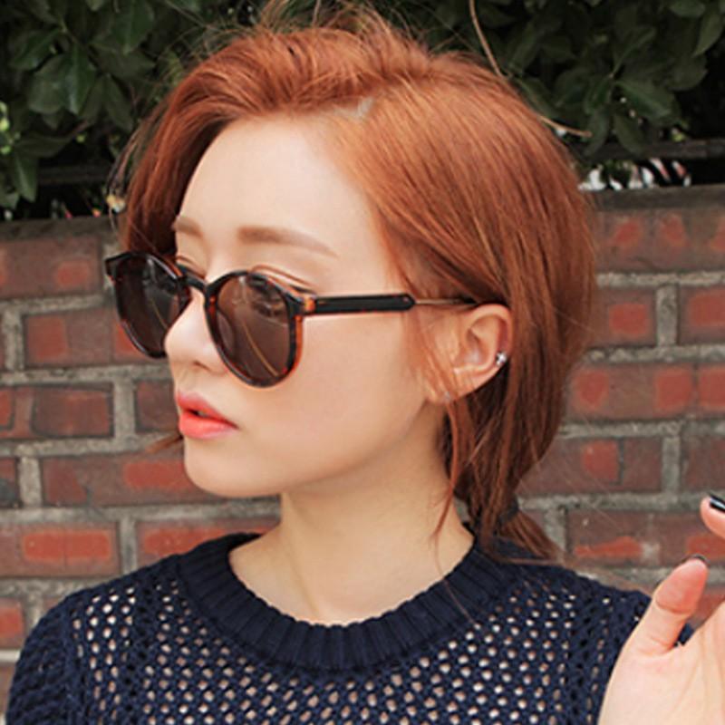 Fashion yellow round frame black sunglasses Korean face repair sunglasses trend transparent sun 6811 A