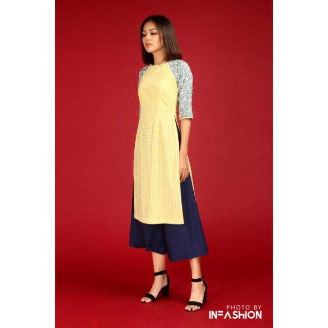 Áo dài vàng tay hoa- Nàng