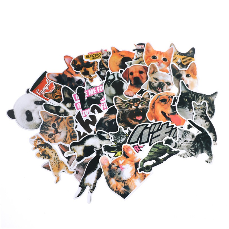 LOVEU* 30Pcs/Bag Cute Pets Stickers Skateboard Laptop Bicycles Car DIY Decal Stickers
