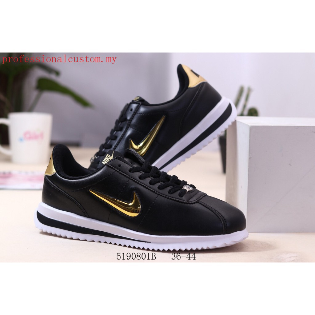 Original Nike Classic Cortez Leather Men Women Sports Running shoes black yellow