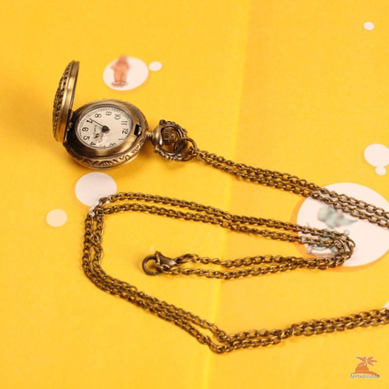 Đồng Hồ Quả Quýt Chạm Khắc Hình Hoa Sen Phong Cách Vintage