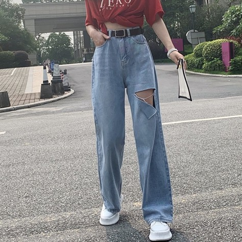 Quần jean ống rộng dài lưng cao thiết kế rách thời trang Hàn Quốc cho nữ