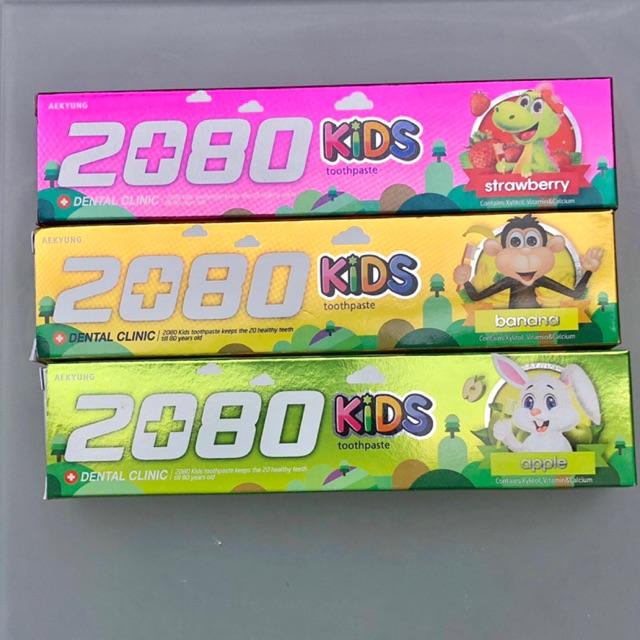 Kem đánh răng trẻ em ngừa sâu răng 2080 Kids Hàn Quốc 80g
