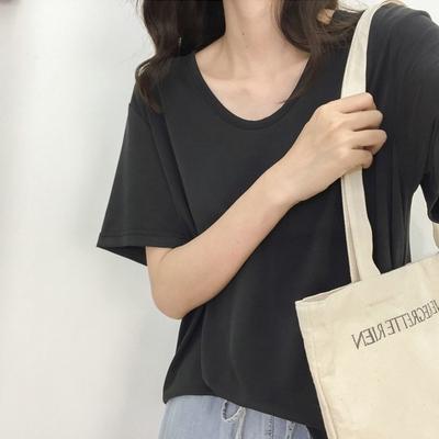 Áo thun nữ ngắn tay cổ chữ V màu trơn thời trang Hàn Quốc