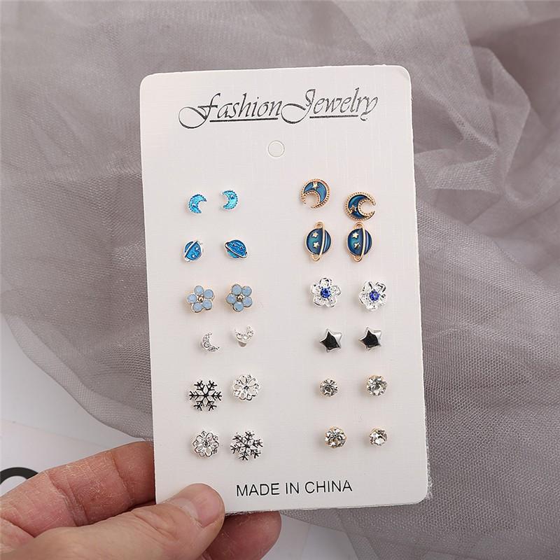 12 cặp Bông tai thời trang Bộ kết hợp Bộ trang sức bạc nhỏ của phụ nữ Bông tai / Bông tai mới dễ thương Hàn Quốc