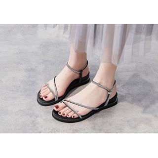 Giày Sandal Đế Bằng 3 Phân Da Lì Quai Mảnh Viền Đá 916909_151197