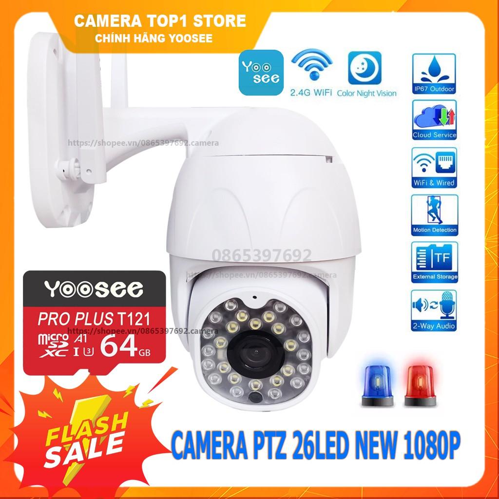 [Mã 1510ELSALE hoàn 7% đơn 300K] Camera IP Yoosee Ngoài Trời PTZ2 FullHD Tiếng Việt - Xoay 360 Kèm Thẻ 32 Gb